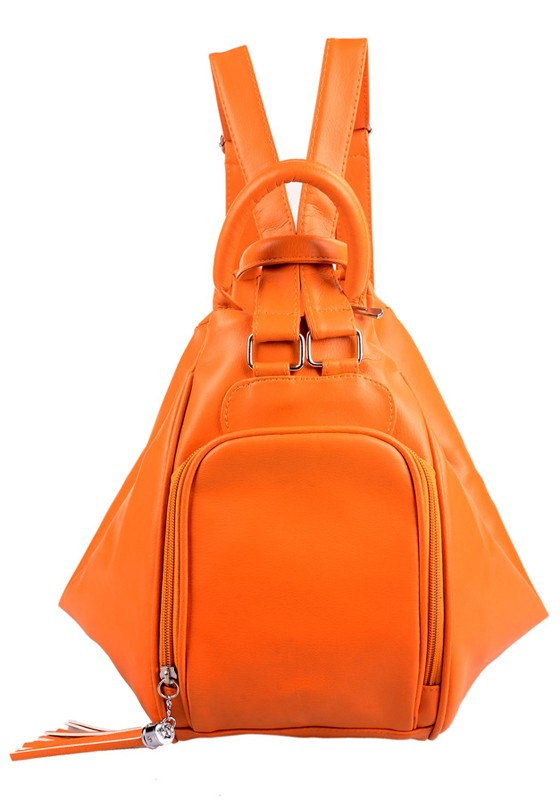 Orange Tassel Cotton Lining PU Leather Backpack - Tote Bags - Bags ...