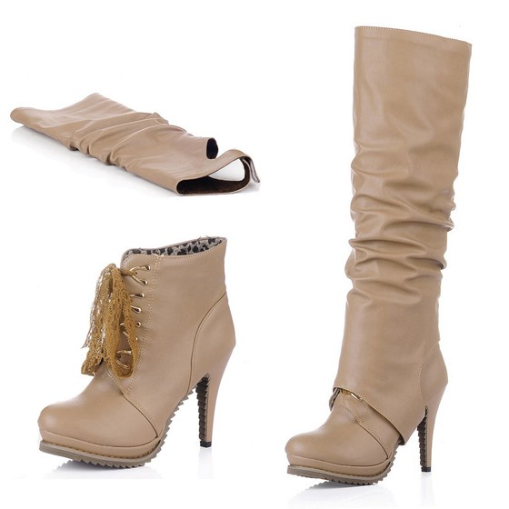 Beige Round Toe Stiletto Two Wearing Casual Knee High Boots ...