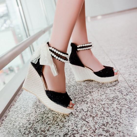 sale retailer 19be8 05ad1 Schwarz Wedges Perlen Spitze Schleife Mode Sandalen Schöne Keilabsatz  Schuhe Damen