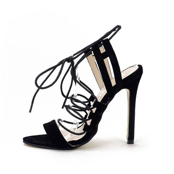 Black piscine mouth stiletto lace up casual sandals for All black piscine wedges
