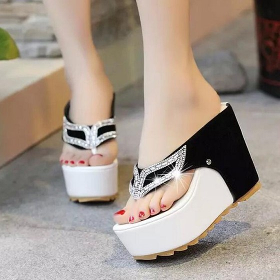 Black piscine mouth wedges rhinestone casual sandals for All black piscine wedges