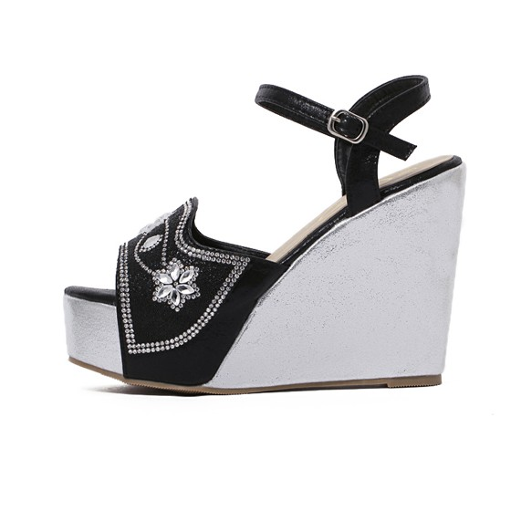 black piscine mouth wedges rhinestone buckled casual ankle