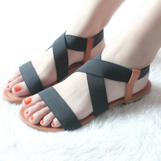 Black piscine mouth flat casual ankle sandals sandals for All black piscine wedges