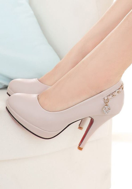 5befdb249296 Beige Round Toe Stiletto Metal Chain Casual High-Heeled Shoes - Pumps Heels  - Shoes
