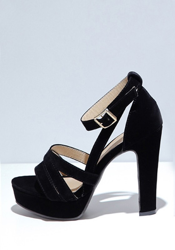 Black piscine mouth chunky buckle fashion high heeled for All black piscine wedges