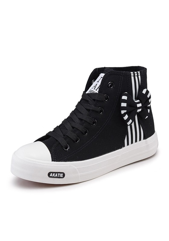 black toe flat bow lace up casual canvas shoes