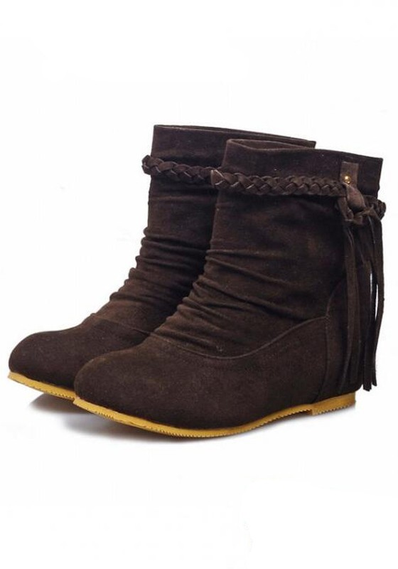 brown toe tassel slip on suede fashion boots boots