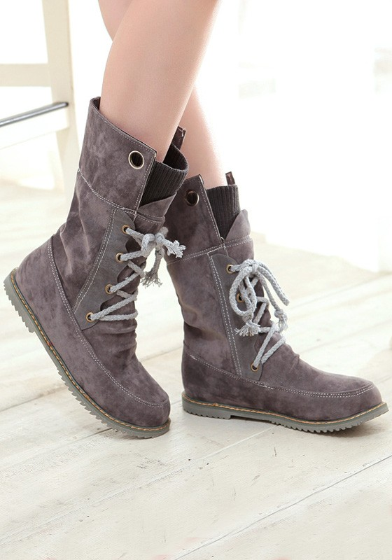 grey toe flat lace up fashion mid calf boots boots