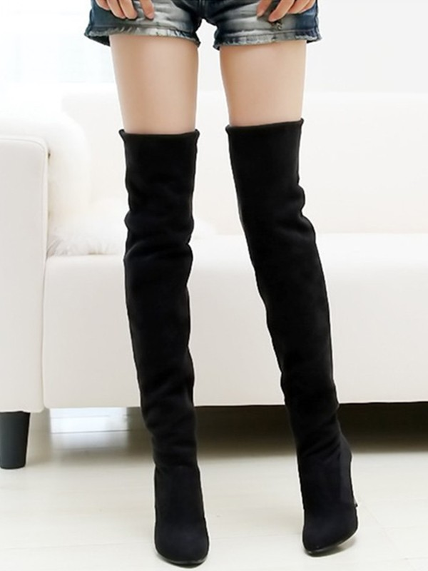 33b1323a35 Black Point Toe Stiletto Casual Over-The-Knee Boots - Happy Hour