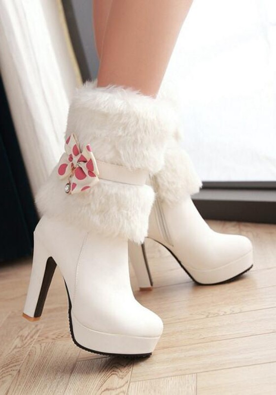 White Round Toe Chunky Bow Fur Sweet Ankle Boots - Boots - Shoes
