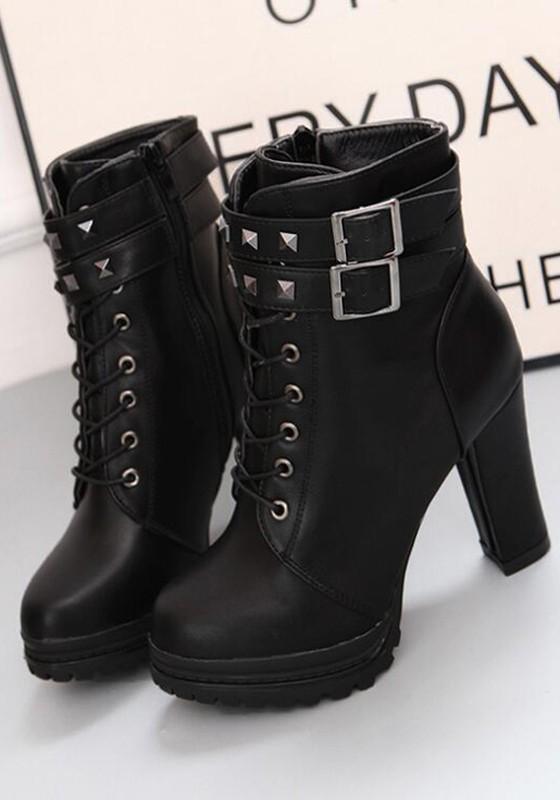 Schwarze Niet Runde Zehe Blockabsatz mit Plateau Absatz Herbst Stiefeletten Schnürstiefelette Boots Damen Stiefel