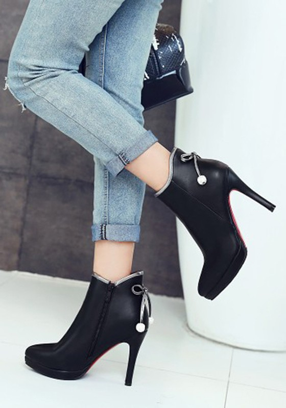 ebd2d5d13ca Black Point Toe Stiletto Bow Casual Ankle Boots
