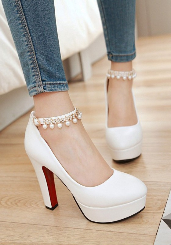 bca2f8b0c95c White Round Toe Chunky Pearl Fashion High-Heeled Shoes - Pumps Heels - Shoes