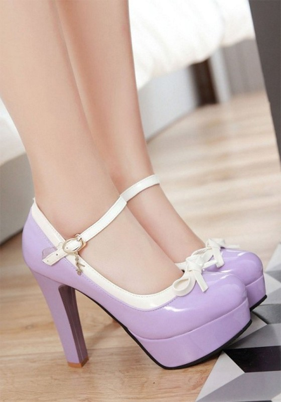 58c49c8ee65 Purple Round Toe Chunky Bow Buckle Sweet High-Heeled Shoes - Pumps Heels -  Shoes