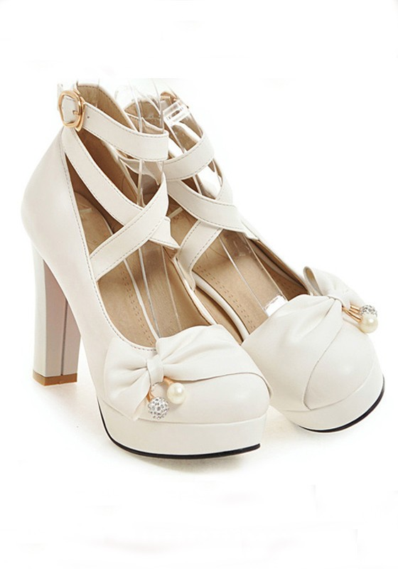 9377ef260 White Round Toe Chunky Cross Strap Bow Sweet High-Heeled Shoes ...