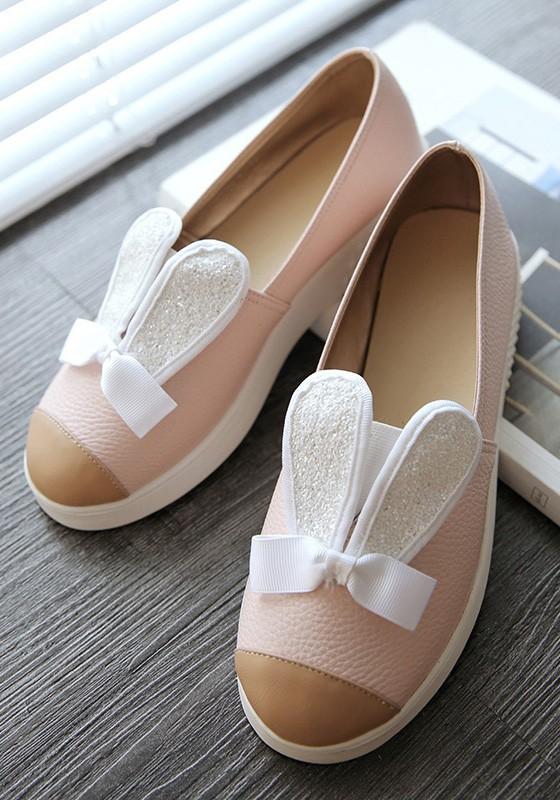 Rosa runde Kaninchen Muster Nähen süße flache Schuhe - Flach Schuhe ...