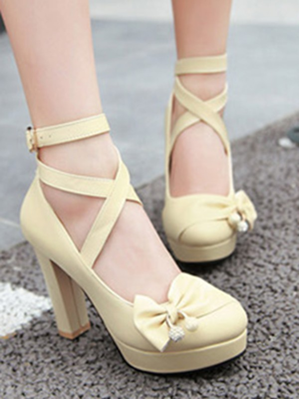 60a7da6d8 Beige Round Toe Chunky Bow Buckle Sweet High-Heeled Shoes - Pumps/Heels -  Shoes
