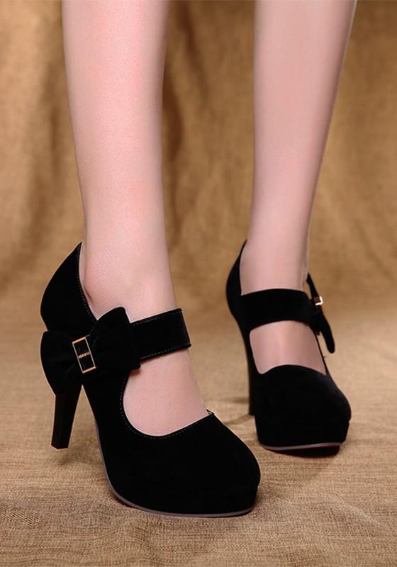 449134bda6c4e9 Chaussures pointe ronde talon aiguille doux nœud papillon à talons hauts  noir