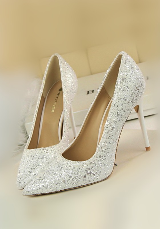 5aac1fc5bfd White Point Toe Stiletto Fashion Sequin High-Heeled Shoes
