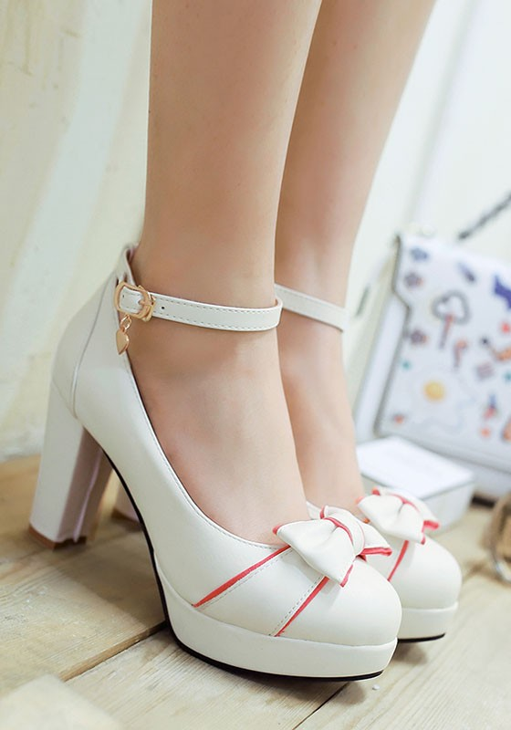 white round toe chunky bow cute highheeled shoes pumps