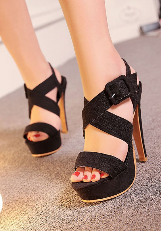 Black piscine mouth stiletto buckle fashion high heeled for All black piscine wedges