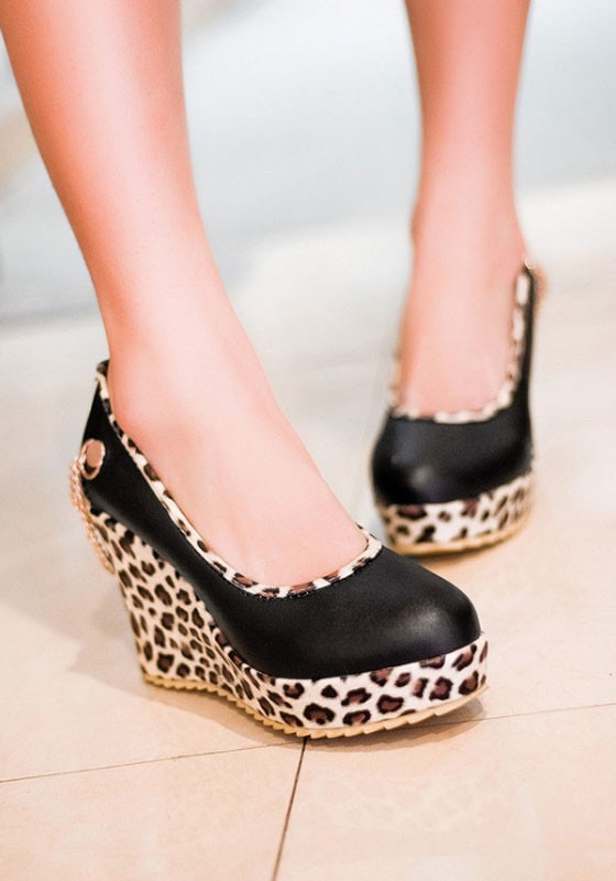 a8d7f4b05 Black Round Toe Leopard Print Casual Wedges Shoes - Wedges - Shoes