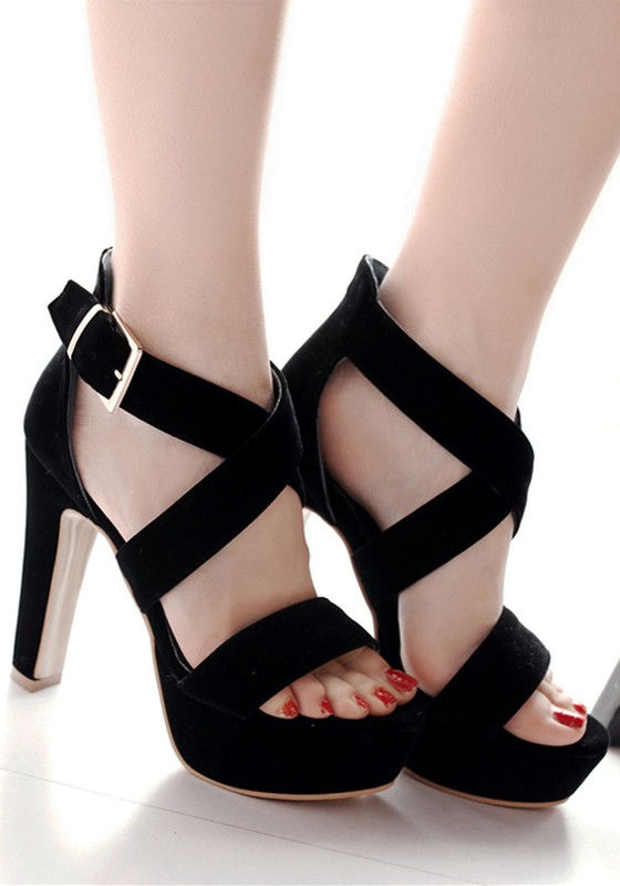 Black piscine mouth chunky buckle casual high heeled for All black piscine wedges