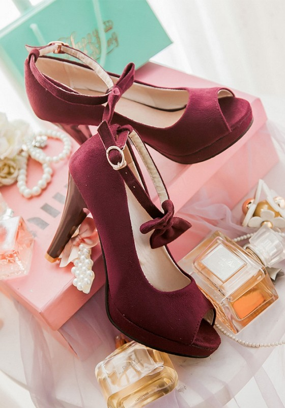Wine red piscine mouth stiletto bow buckle fashion high for Piscine wine