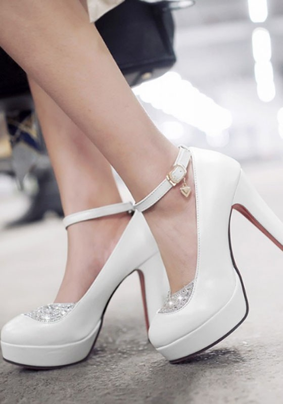 White Round Toe Chunky Rhinestone Casual High-Heeled Shoes - Pumps ...