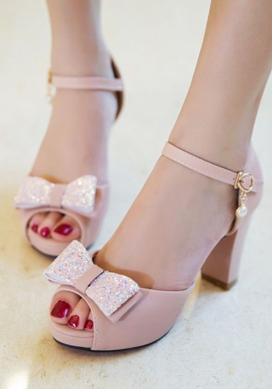 b48dd08580b Pink Piscine Mouth Chunky Bow Buckle Sweet High-Heeled Sandals - Sandals -  Shoes