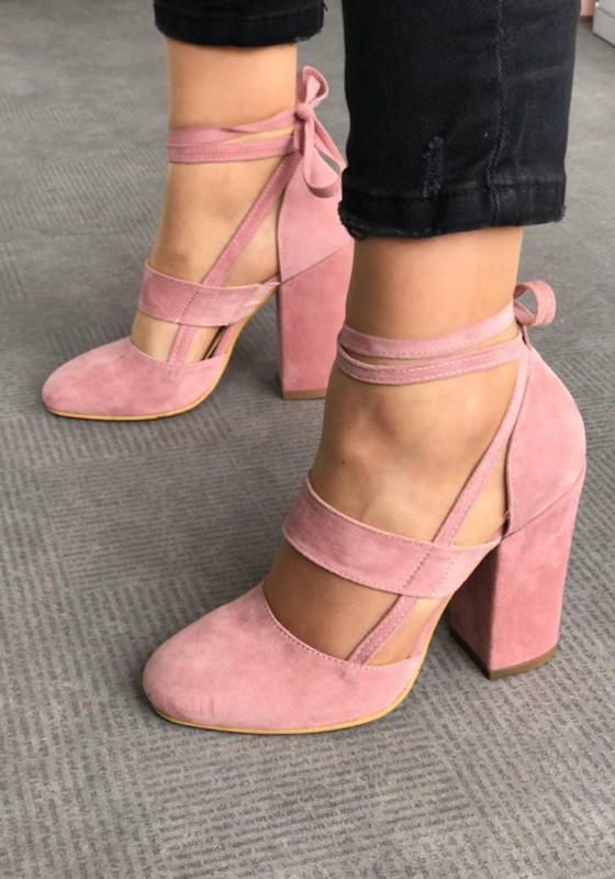 40682e1f3c68 Pink Round Toe Chunky Cut Out Cross Strap Fashion High-Heeled Shoes - Pumps  Heels - Shoes