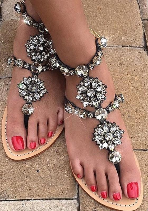 size 40 87bbc 69ae5 Schwarze Flache Strass Ketten Retro Frauen Große Größen Mode Sandalen  Strand Sommer Schuhe Damen Große Größe