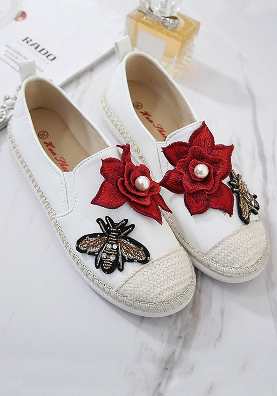 White round toe flat pearl flowers embroidery casual shoes flats white round toe flat pearl flowers embroidery casual shoes mightylinksfo