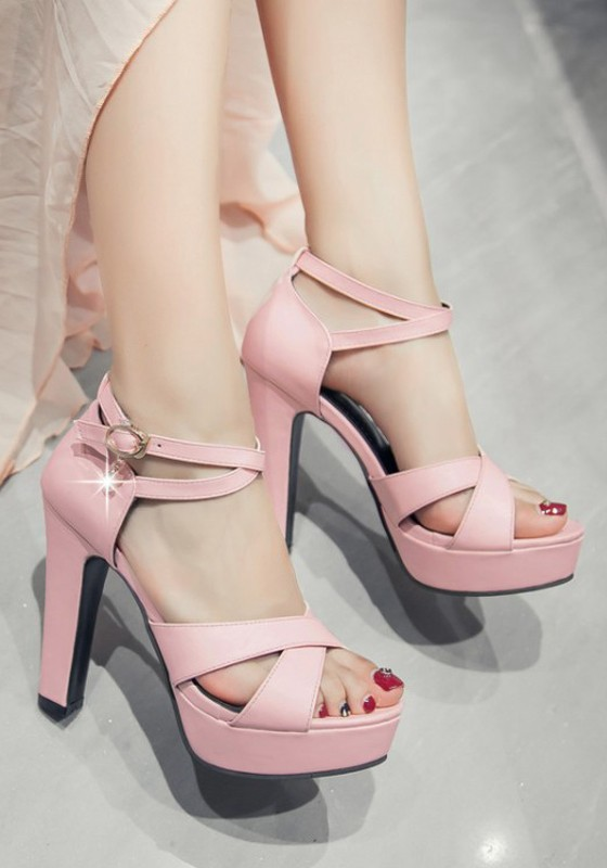 05eee2dad6d Pink Round Toe Chunky Rhinestone Buckle Fashion High-Heeled Sandals -  Sandals - Shoes