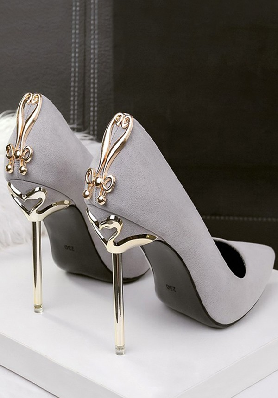 09eacdd26ec7 Grey Point Toe Stiletto Metal Decoration Fashion High-Heeled Shoes -  Fashion Show - Trends