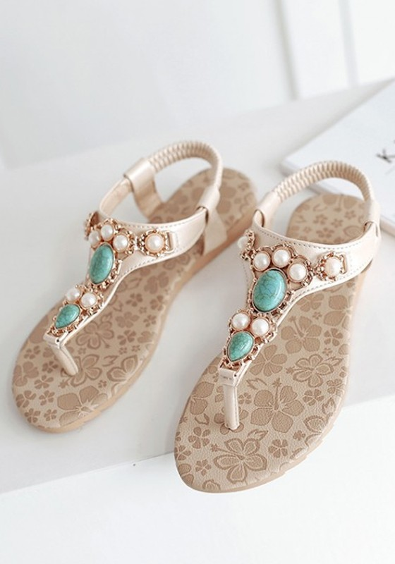 Blue Round Toe Flat Pearl Casual Ankle Sandals - Sandals - Shoes