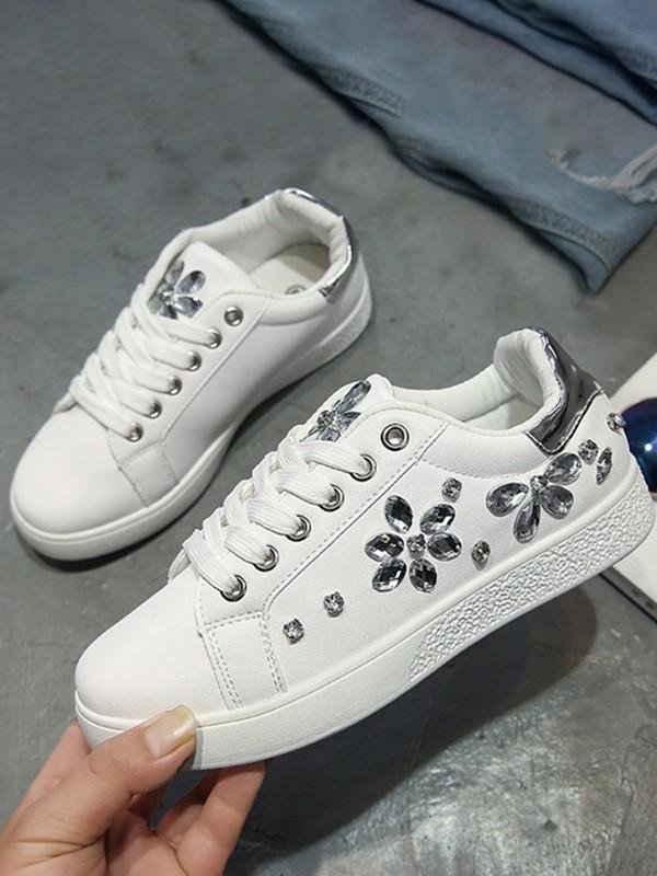 Damen Schnürung Freizeitschuhe Sport Weiße Sneaker Flacher Strass Turnschuhe Zehe Runde Schuhe rdBexCo