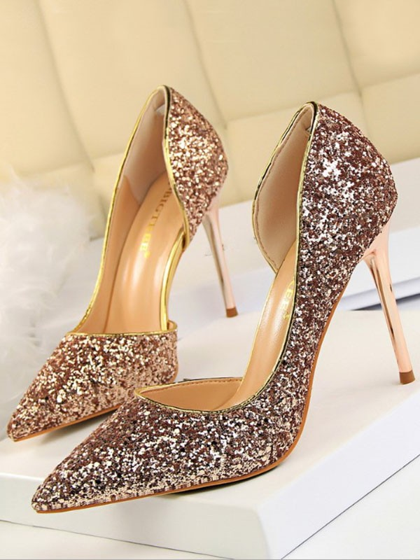 cdfd7f7da9e8 Champagne Point Toe Stiletto Sequin Fashion High-Heeled Shoes - Pumps Heels  - Shoes