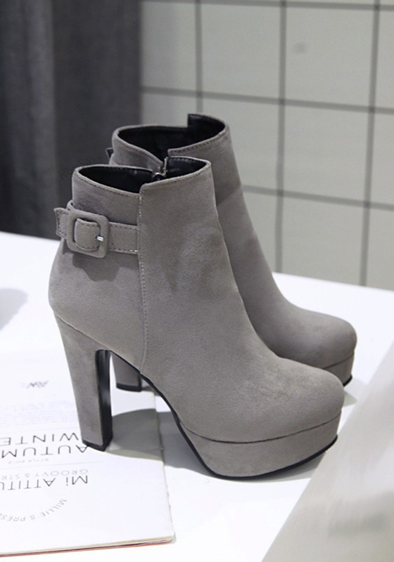 00df3977cef Grey Round Toe Chunky Buckle Casual Ankle Boots