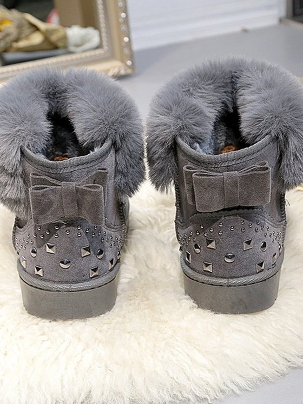 446311edce77e3 Bottes de neige strass noeud papillon fourrure hiver doux femme chaussures  gris