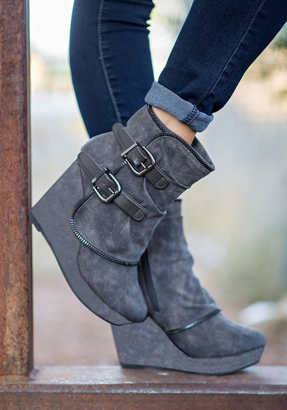 64064fdf133 Grey Round Toe Wedges Double Buckle Fashion Ankle Boots - Happy Hour