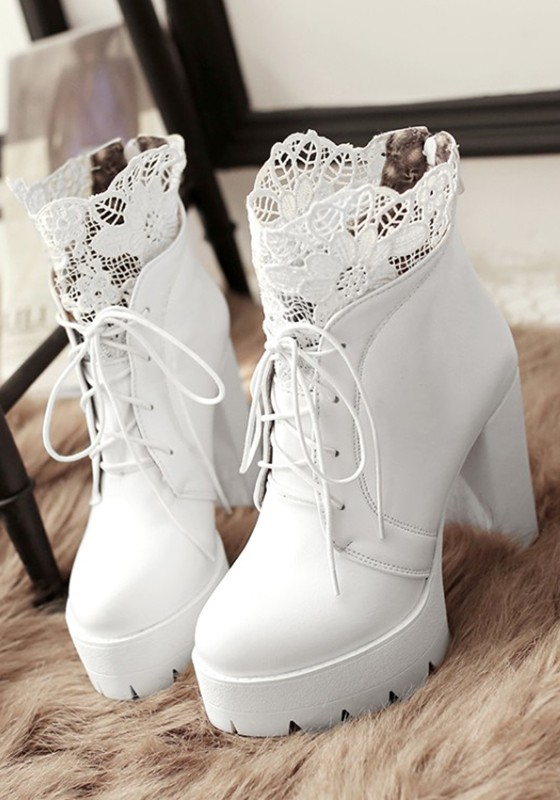 weiße ankle boots