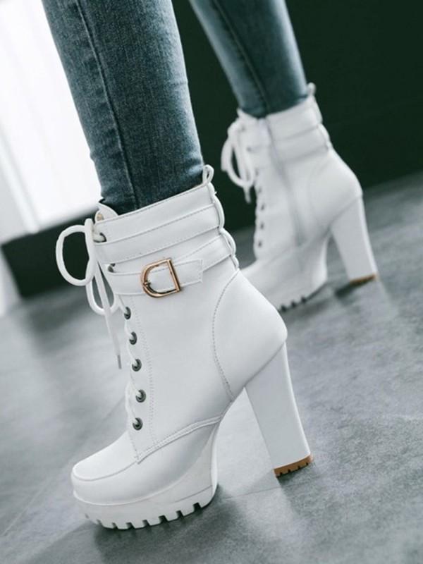 Weiß Schnürung Mit Gürtel Blockabsatz Plateau High Heel Stiefeletten Elegantes Damen Winter Schuhe Short Ankle Boots