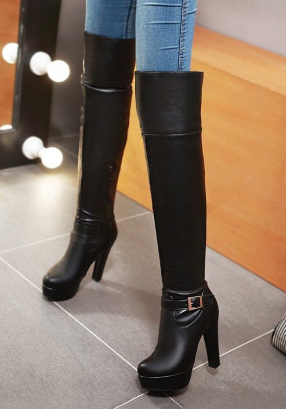 611ef40062ffb Black Round Toe Chunky Buckle Fashion Over-The-Knee Boots - Boots - Shoes