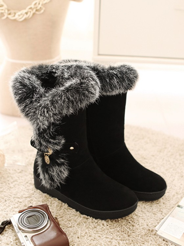 wholesale dealer 5fed5 a07c1 Schwarz Runde Zehe Fellimitat Winter Warm Gefüttert Flache Stiefeletten  Damen Boots