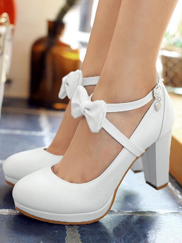 dcb018dfcd7177 Weiß Runde Zehe Schleife Gürtel Blockabsatz Süße0 Hochhackige Party Schuhe  High Heels Damen