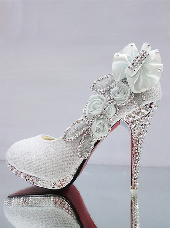 44ea70deb1a Silver Round Toe Stiletto Rhinestone Fashion High-Heeled Shoes - Pumps Heels  - Shoes