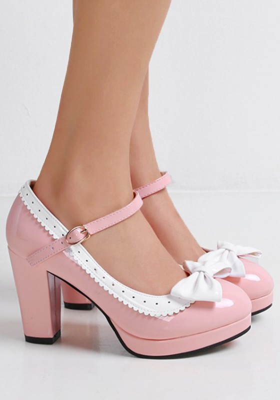 fba661606 Pink Round Toe Chunky Bow Buckle Sweet High-Heeled Shoes - Pumps/Heels -  Shoes