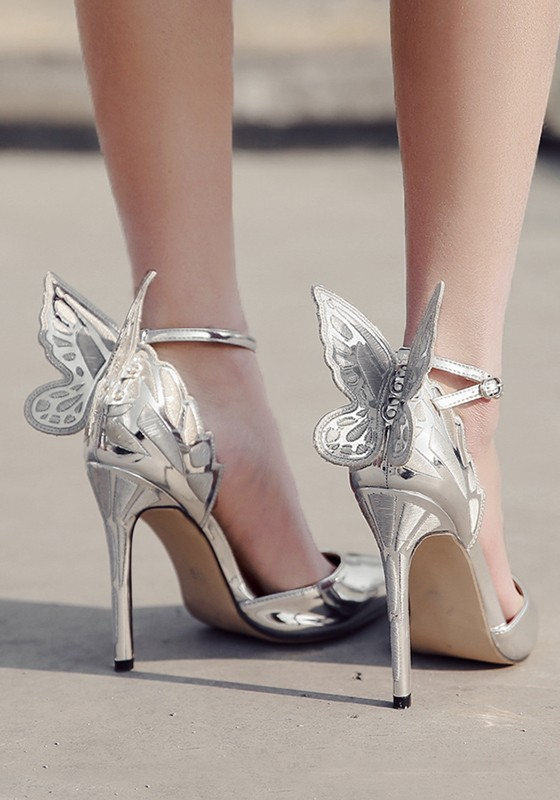 4b4b8dc55ce Silver Point Toe Stiletto Bow Buckle Fashion High-Heeled Shoes - Pumps Heels  - Shoes