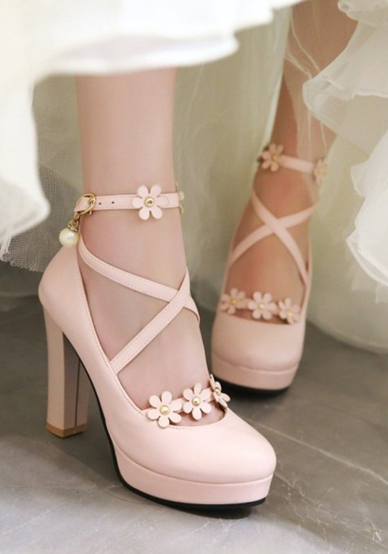 Pink round toe chunky flowers fashion high heeled shoes pumps pink round toe chunky flowers fashion high heeled shoes mightylinksfo